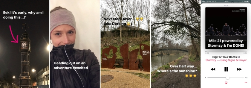 My Insta Story as I was running (minus the videos)